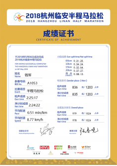 2018杭州临安半程马拉松